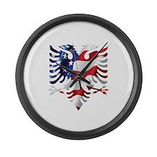 Albanian American Eagle Large Wall Clock
