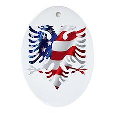Albanian American Eagle Ornament (Oval)