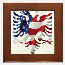 Albanian American Eagle Framed Tile