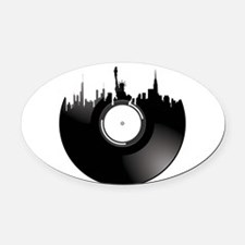 New York City Vinyl Record Oval Car Magnet