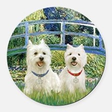 Bridge-2 Westies Round Car Magnet