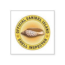 "Sanibel Island Shell Inspec Square Sticker 3"" x 3"""
