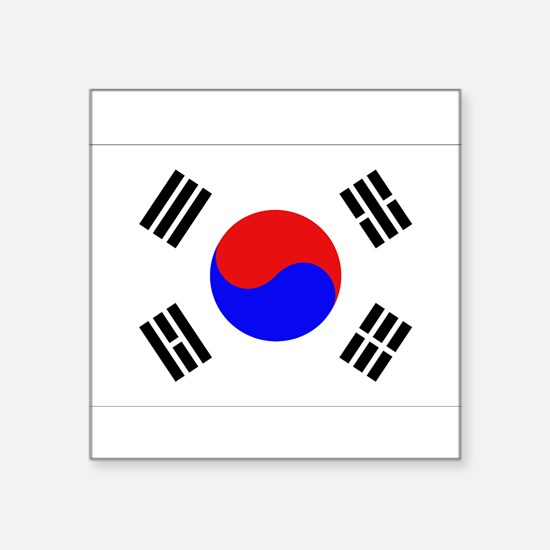 "Cute Korea flag Square Sticker 3"" x 3"""