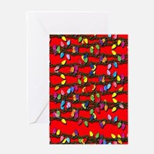 Holiday Lights on Red! Greeting Card