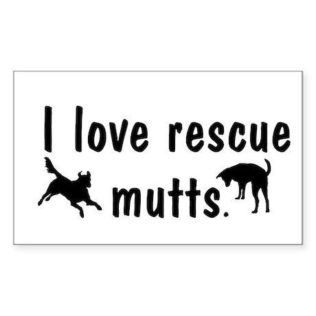 I Love Rescue Mutts Sticker (Rectangle)
