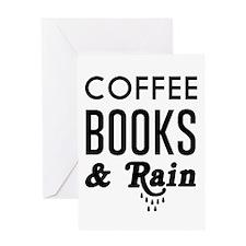Coffee book and rain Greeting Cards