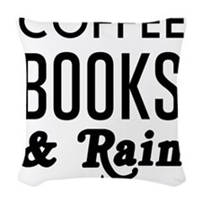 Coffee book and rain Woven Throw Pillow