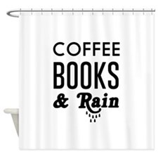 Coffee book and rain Shower Curtain