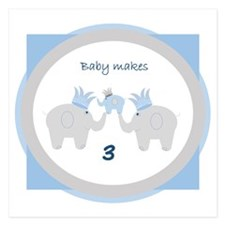 Baby Makes 3 Elephant Announcement Invitations