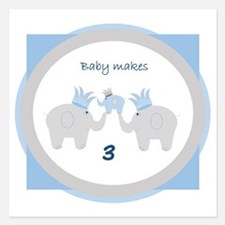 Baby Makes 3 Elephant Announcement Invitations