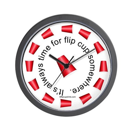 Flip Cup Wall Clock Red On White By Teesed