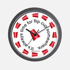 Flip Cup Wall Clock (Red on White)