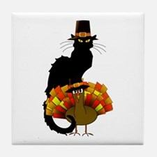Thanksgiving Le Chat Noir With Turkey Tile Coaster