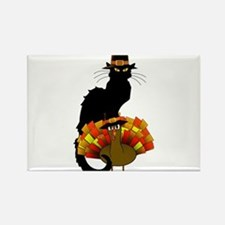 Thanksgiving Le Chat Noir With Turkey Pilg Magnets