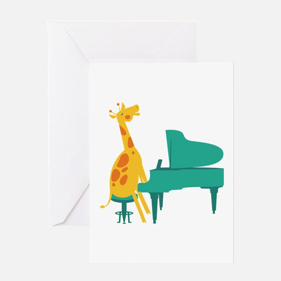 Piano Giraffe Greeting Cards