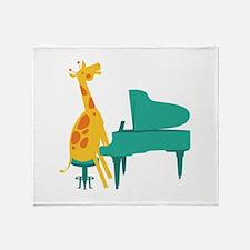 Piano Giraffe Throw Blanket