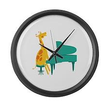 Piano Giraffe Large Wall Clock