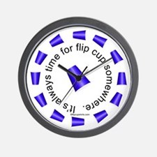 Flip Cup Wall Clock (Blue on White)