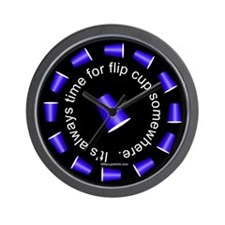 Flip Cup Wall Clock (Blue on Black)