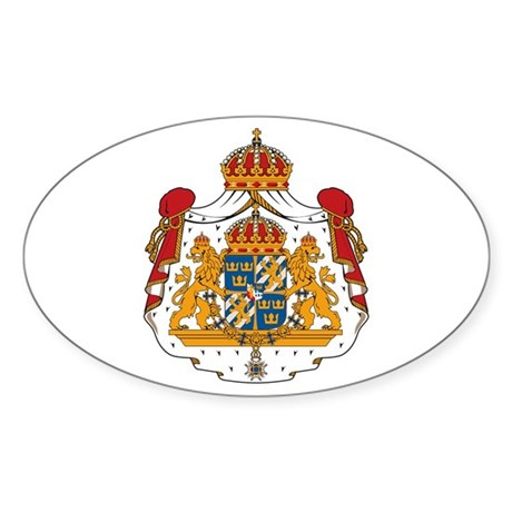 Sweden Coat of Arms Oval Sticker