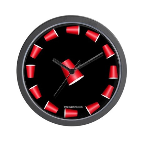 Flip Cup Wall Clock (Red on Black)