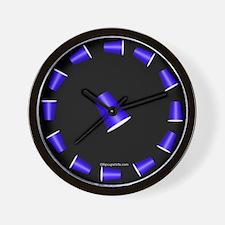 Flip Cup Wall Clock (Blue on Black)