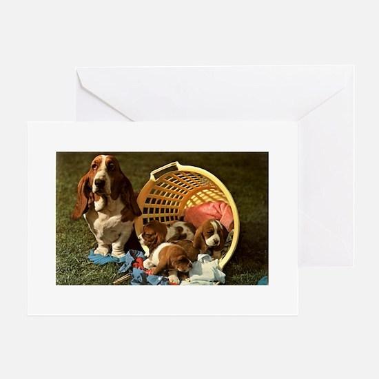 Basset Hound & Puppies Greeting Cards