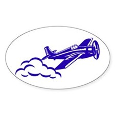 The Blue Plane Oval Bumper Stickers