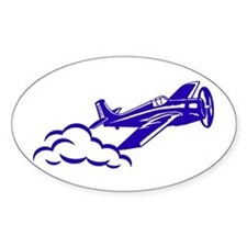 The Blue Plane Oval Decal