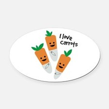 I Love Carrots Oval Car Magnet