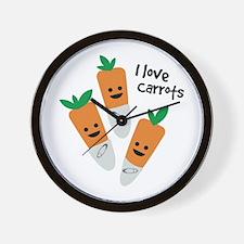 I Love Carrots Wall Clock