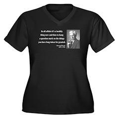 Bertrand Russell 6 Women's Plus Size V-Neck Dark T