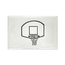 B&W Basketball Hoop Rectangle Magnet (10 pack)