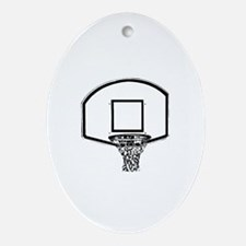 B&W Basketball Hoop Oval Ornament