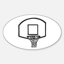 B&W Basketball Hoop Oval Decal