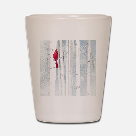 Red Cardinal Bird Snow Birch Trees Shot Glass