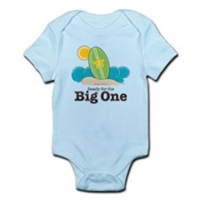 The Big One Surf Baby or 1st Birthday Pink Onesie