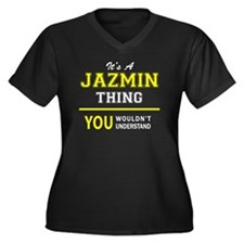 Unique Jazmin Women's Plus Size V-Neck Dark T-Shirt