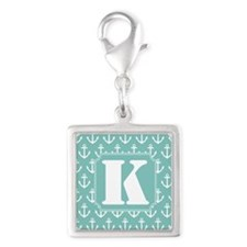 Monogram K Nautical Anchor Silver Square Charm
