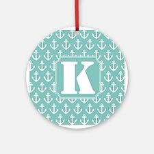 Monogram K Nautical Anchor Ornament (Round)