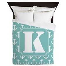 Monogram K Nautical Anchor Queen Duvet