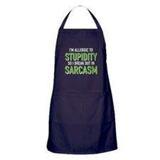I'm Allergic To Stupidity Apron (dark)