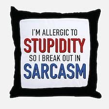 I'm Allergic To Stupidity Throw Pillow