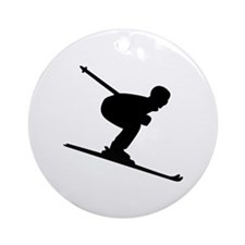 Downhill Skiing Ornament (Round)