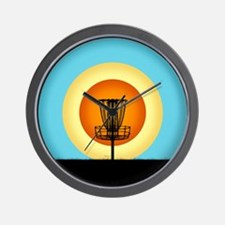 Colorful Disc Golf Basket Wall Clock