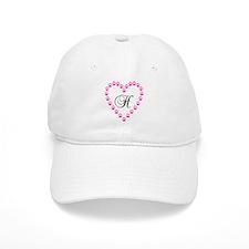 Pink Paw Heart Monogram Letter H Baseball Baseball Cap