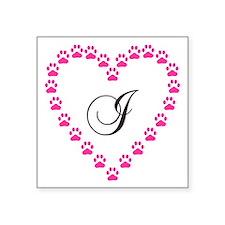 Pink Paw Heart Monogram Letter I Sticker