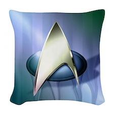 Blue Star Trek Shower Woven Throw Pillow