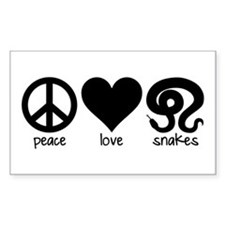 Peace Love And Snakes Sticker (rectangle)