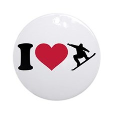 I love Snowboarding Ornament (Round)